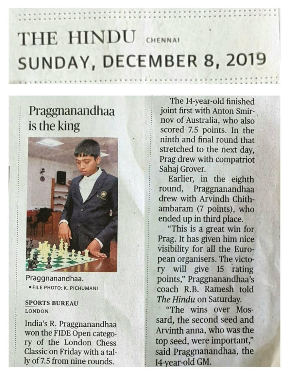 Read more about the article Praggnanandhaa is the King – THE HINDU 8 Dec 2019