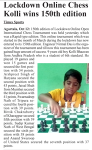 Read more about the article Kolla Bhavan wins 150th Edition of Lockdown Online Chess