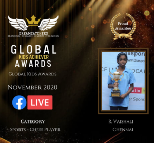 Read more about the article Vaishali received Global Kids Achievers Awards 2020 – Sports Chess Player