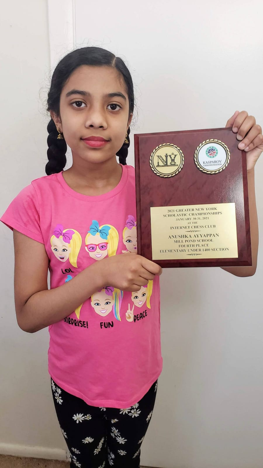 You are currently viewing Anushka secured 4th place in 2021 Greater New York Scholastic U-1400